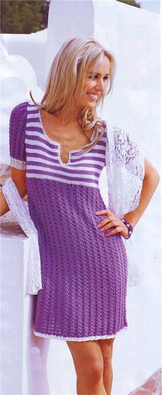 Вязаное спицами платье / Стильное