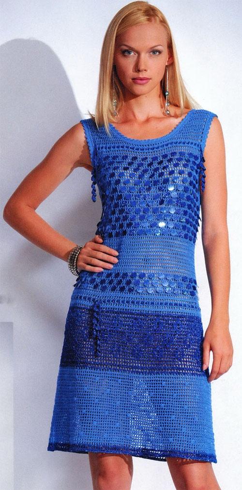 новинки вязания крючком филейного платья