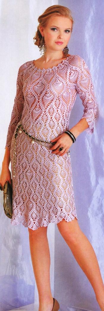 Платье вязаное ананасами