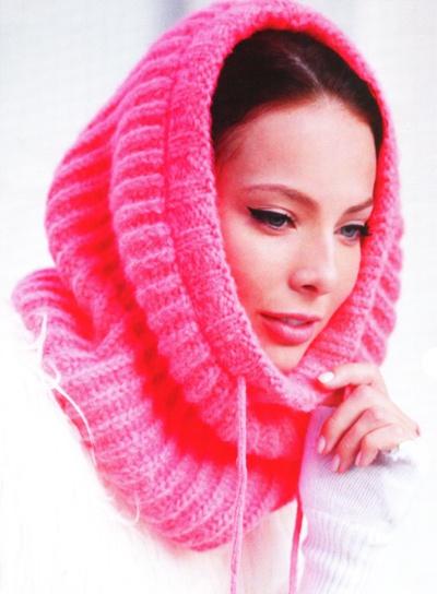 Схема вязание спицами шарфа-хамут