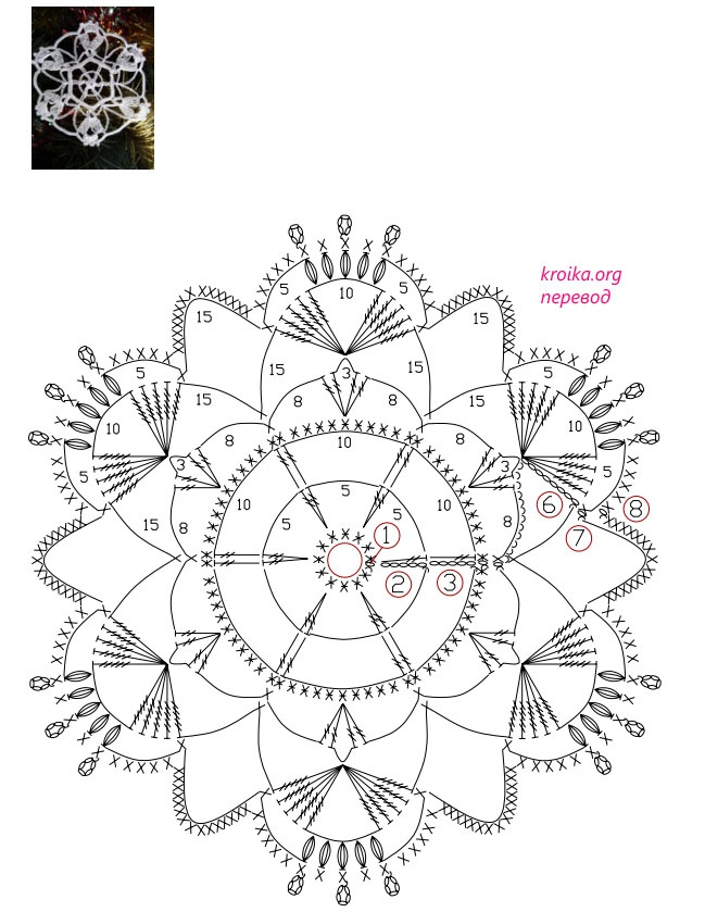 Схема вязания снежинки 4
