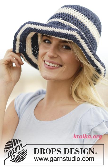 Летняя шляпа крючком полосами