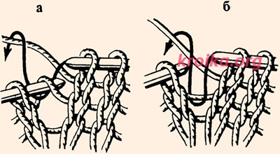 как выполнить протяжку при вязании