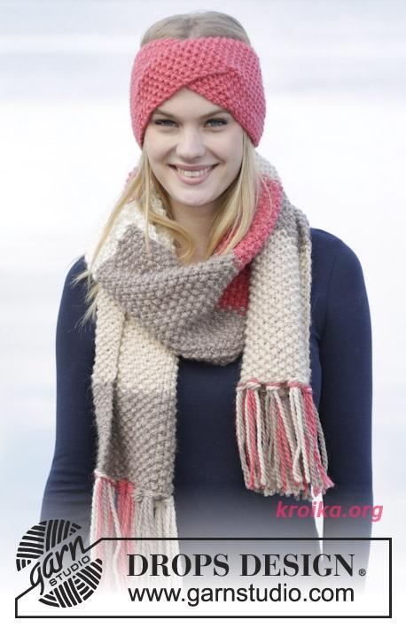 вязание повязки на голову комплект повязка и шарф