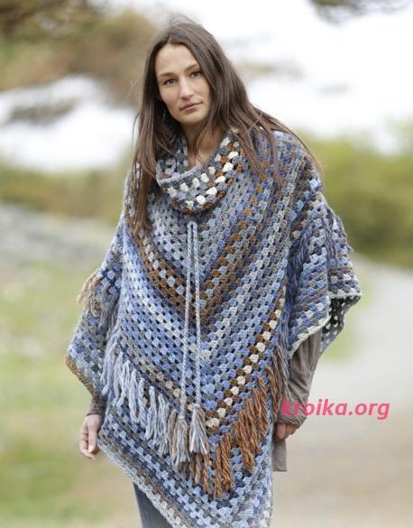 Схем вязания пончо