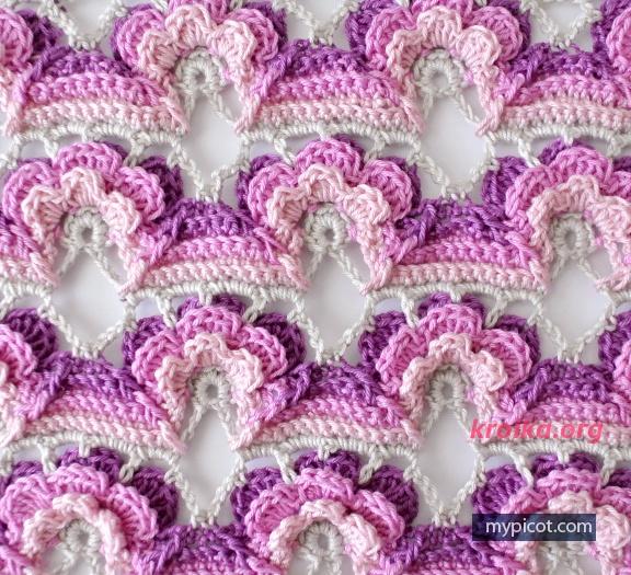 Цветочный узор спицами схема фото 590