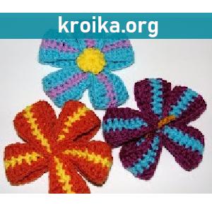 Цветы крючком из вязаных лент
