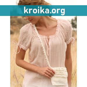 Маленькая вязаная сумочка крючком Linen lace