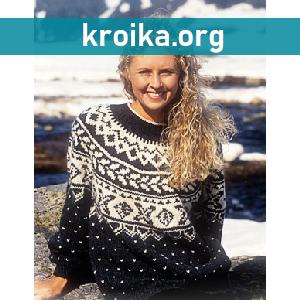 Вязанный спицами свитер Feminine  с норвежским узором