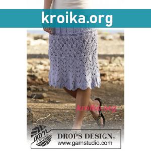 Вязаная юбка спицами  Spring Break за колено