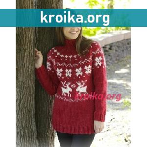 Схема свитера с узором Merry Red
