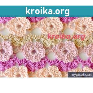 Цветочный узор крючком
