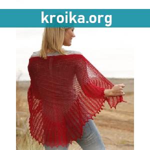Красная треугольная шаль спицами Cherry